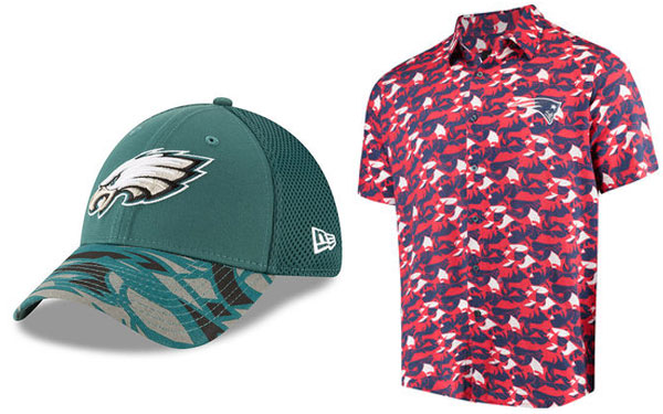 Philadelphia Eagles hat and New England Patriots polo shirt in the NFL xFIT design style made by FIT students.
