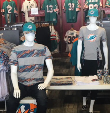 NFL store with new xFit items on display.
