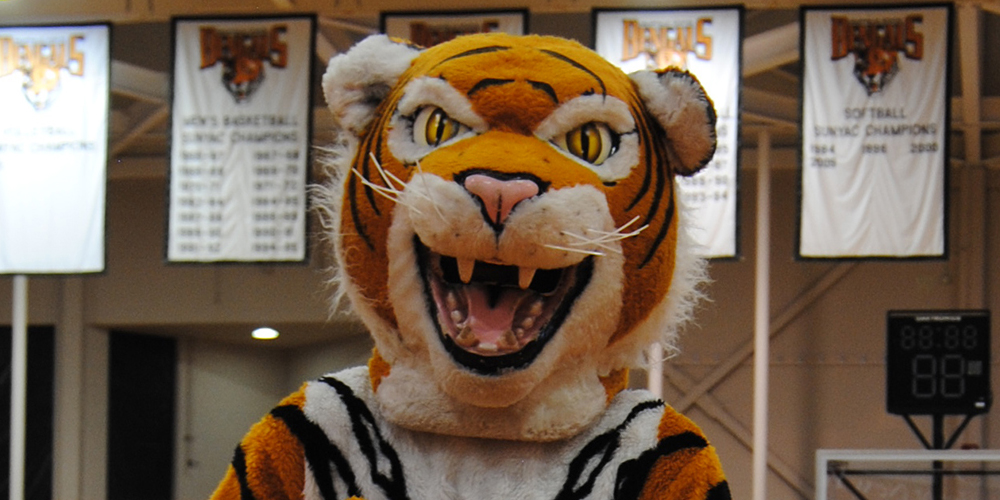 Buffalo State College mascot Benji the Tiger in front of basketball banners.