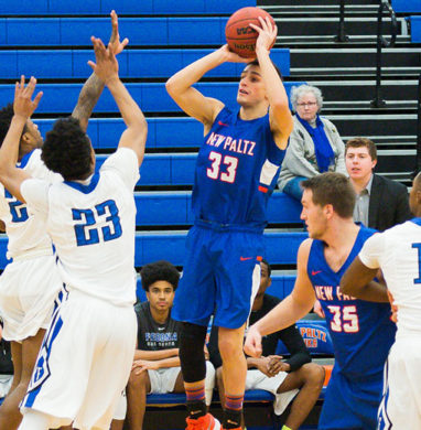 SUNY New Paltz basketball player Nick Paquette lines up for a jump shot in a game. Photo courtesy Reid Dalland.