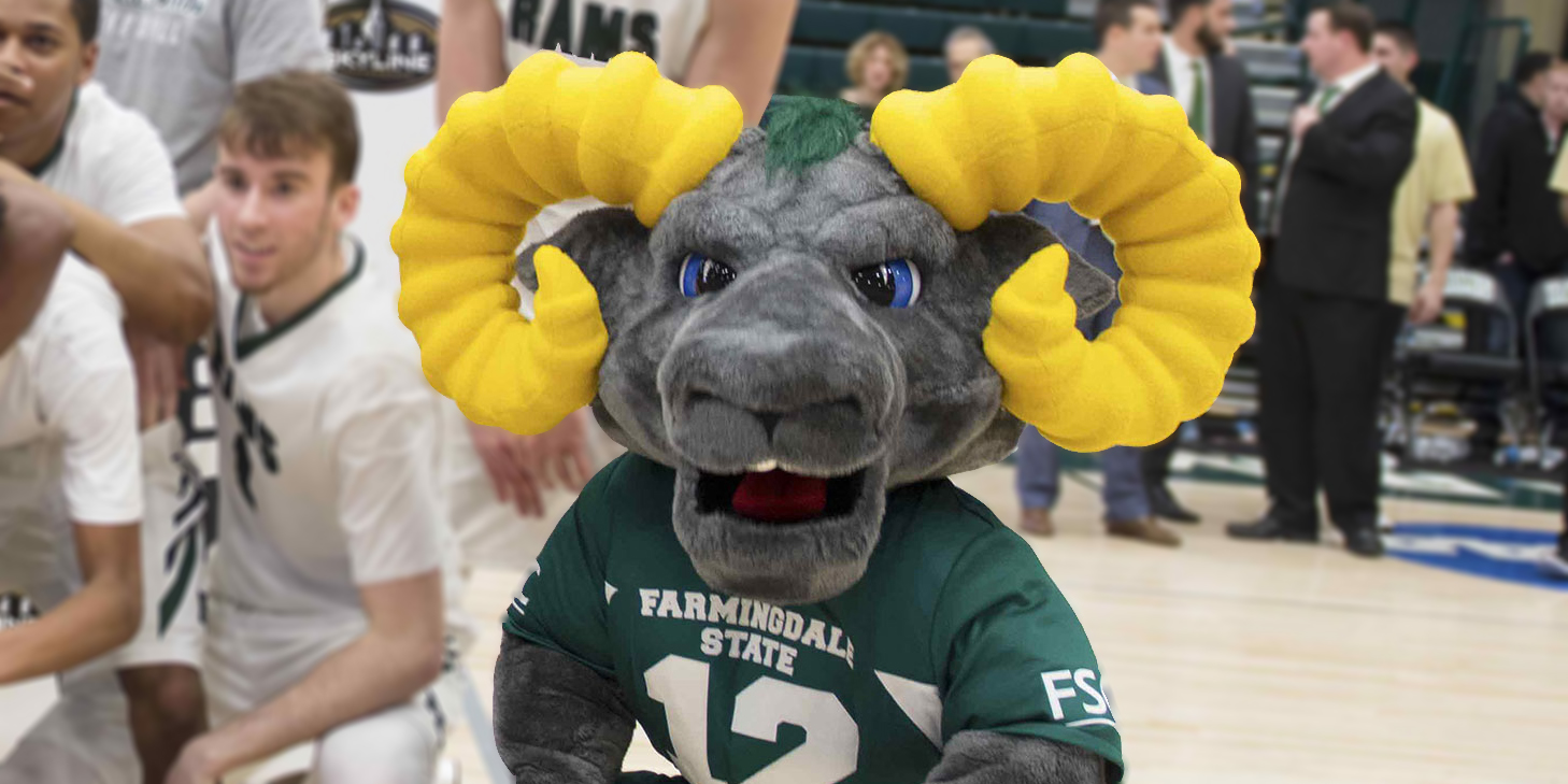 Farmingdale State College mascot Ram-bo on the basketball court.
