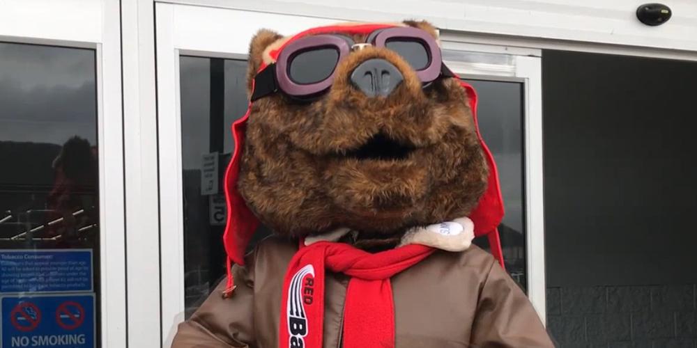 Corning Community College mascot Red Baron.