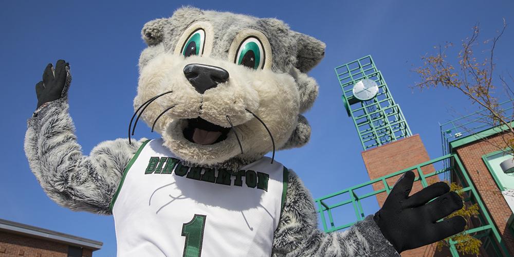 Binghamton University mascot Baxter Bearcat.