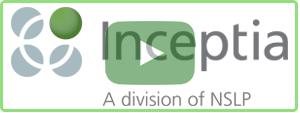 Inceptia logo with a play button on top.