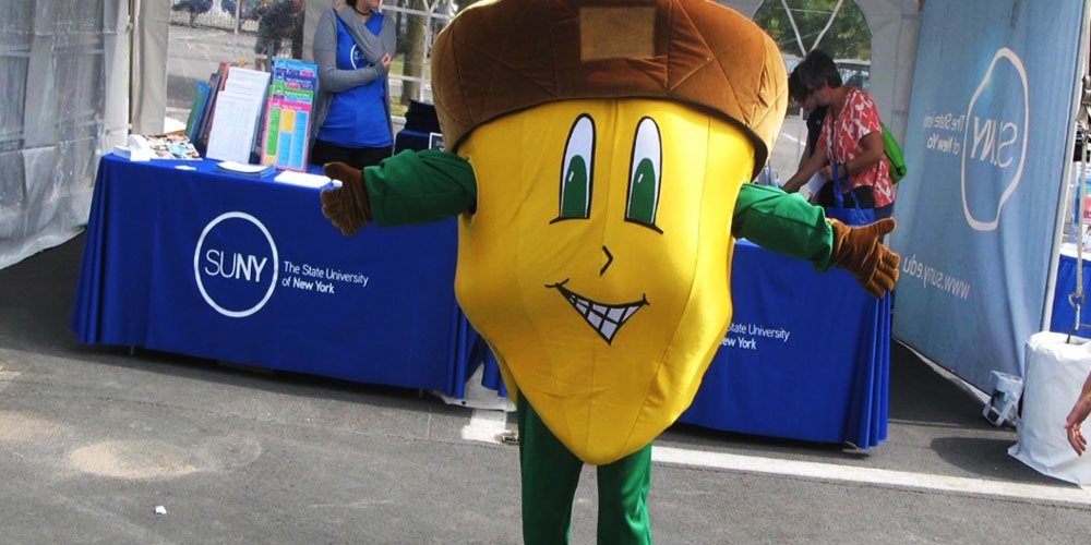SUNY SEF mascot Oakie Acorn at the NYS Fair.