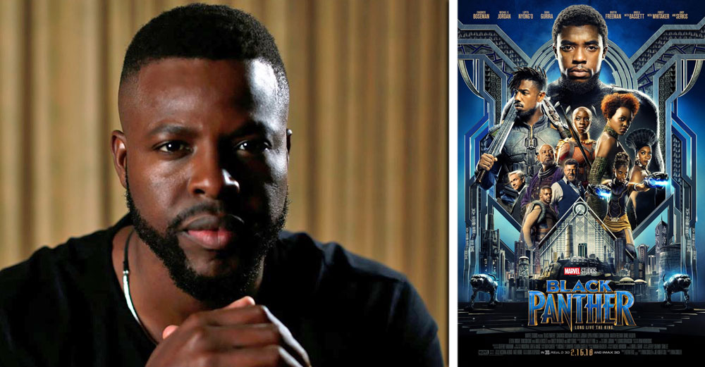 Winston Duke headshot with the Black Panther poster next to him.