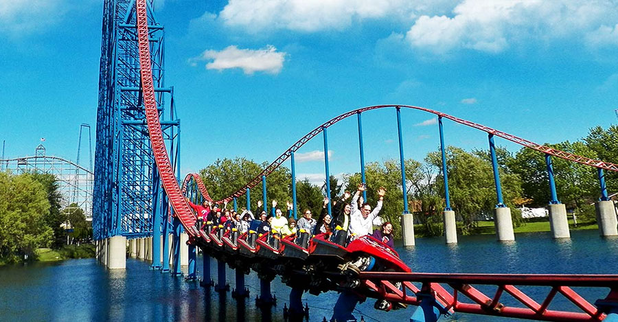Man of Steel roller coaster at Darien Lake theme park.