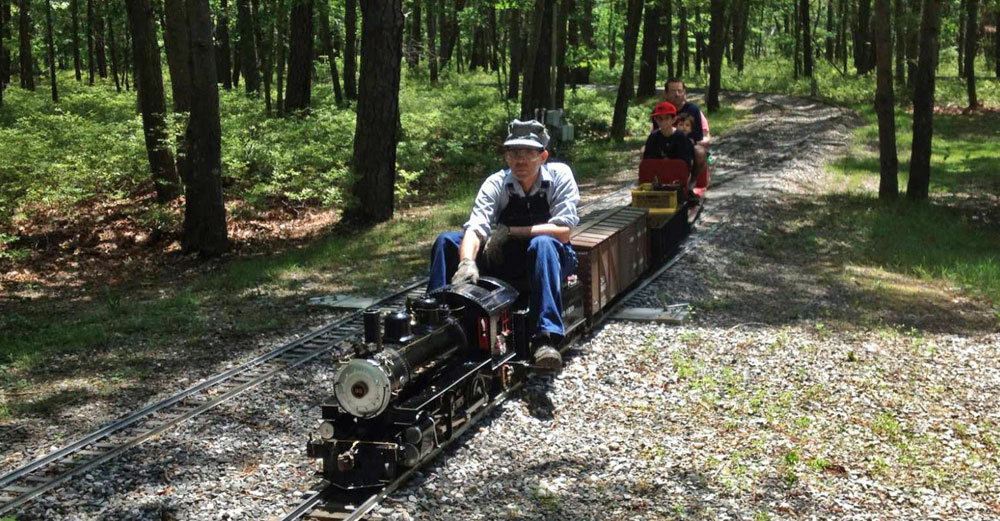 Mini stream train goes between trees as it's ridden by adult engineer with kids in the back.