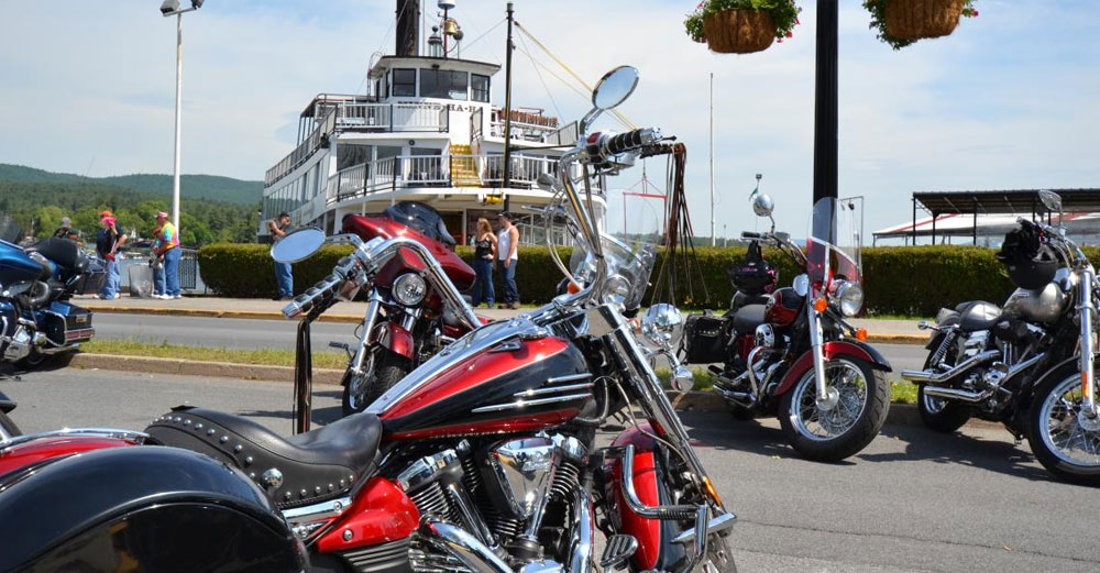 Motorcycles in front of the Lake George Steamboat during Americade.