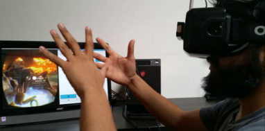 A man uses a virtual reality headset to conduct a vision test through a video game.