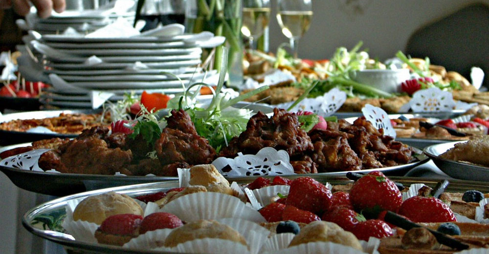 A food buffet table.