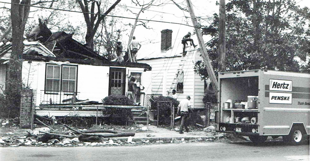 Hurricane damaged homes in Charleston, South Carolina in a photo from 1989.