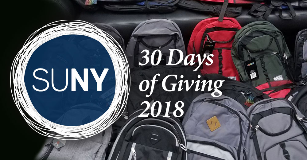 30 Days of Giving logo with backbacks in the background.