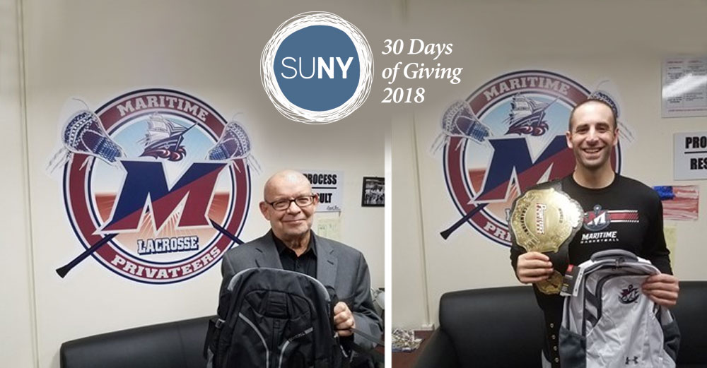 2 SUNY Maritime athletic staff hold backpacks for donation.