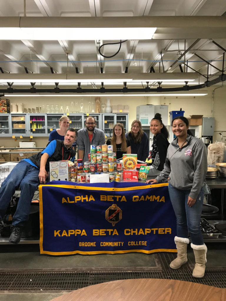 Members of Alpha Beta Gamma, the business honor society, raised funds and donations for the Food for Thought food Pantry 2018 Fall