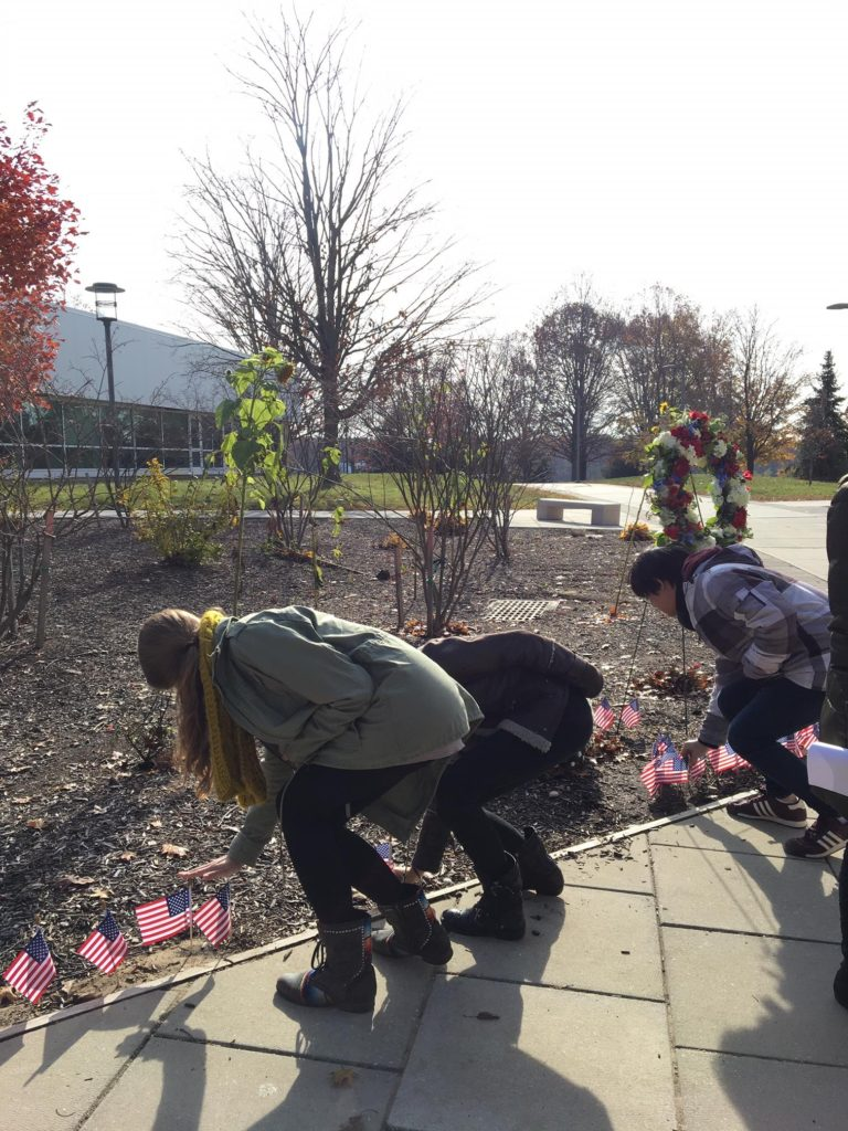 SUNY Old Westbury students plant flags in the ground on campus to honor veterans on Veterans Day.