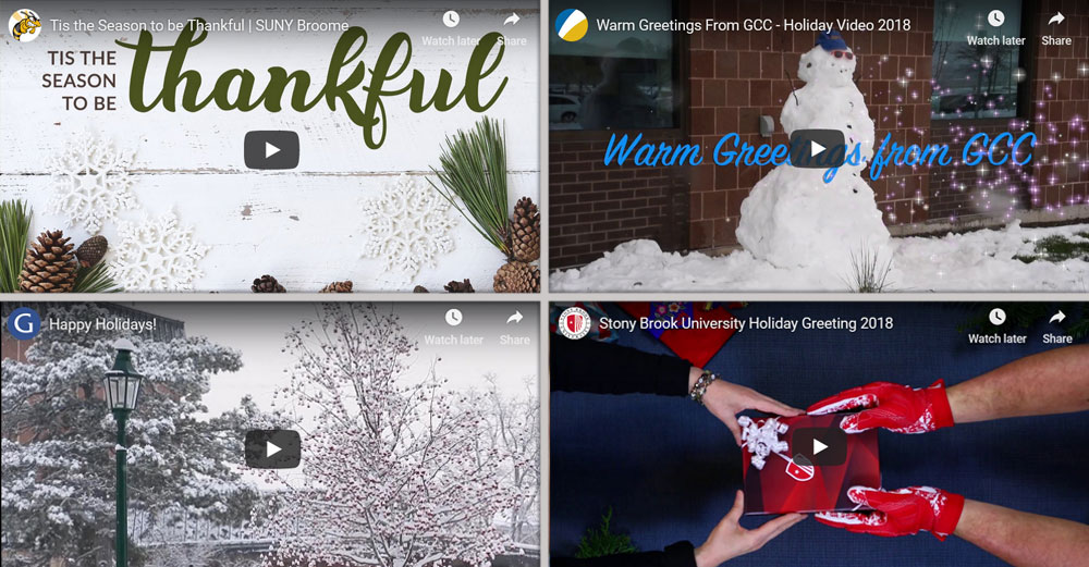 Collage of video stills from SUNY campus holiday message videos.