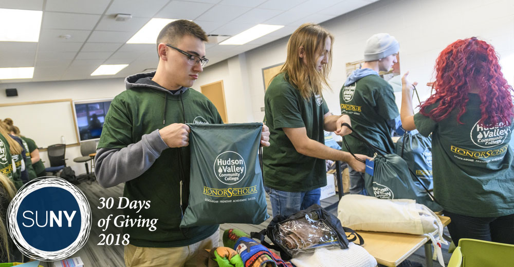 Hudson Valley Community College students pack bags of comfort gear for victims of domestic violence.