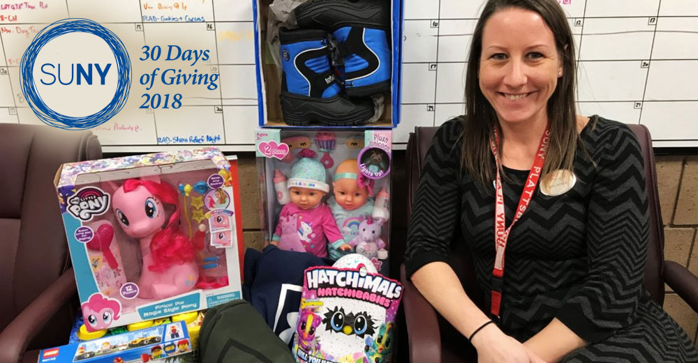 SUNY Plattsburgh retail manager of campus dining services; Sara Arnold and gifts donated by her organization.