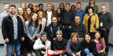 SUNY Oneonta students pose for a picture with Dave Matthews at the Albany Times Union Center.