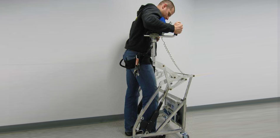 Mobility assist standing device being used.