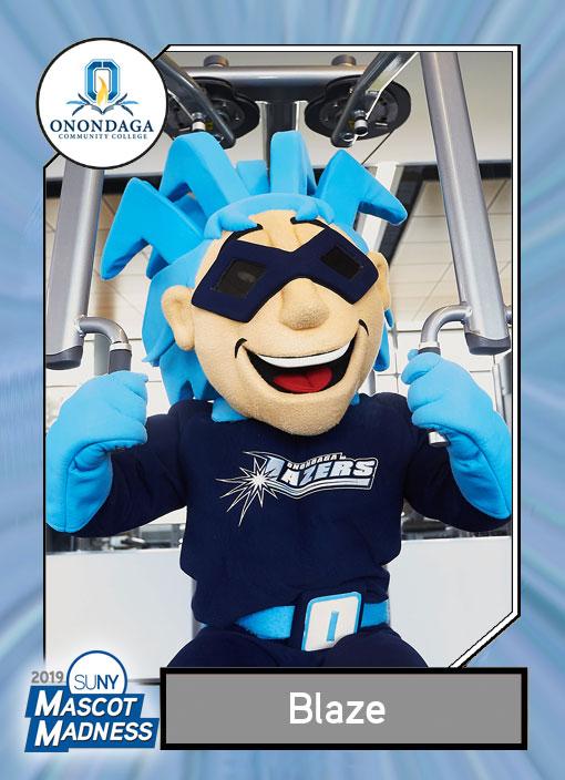 Blaze, Onondaga Community COllege mascot sportscard