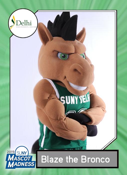 Blaze Bronco, SUNY Delhi mascot sportscard