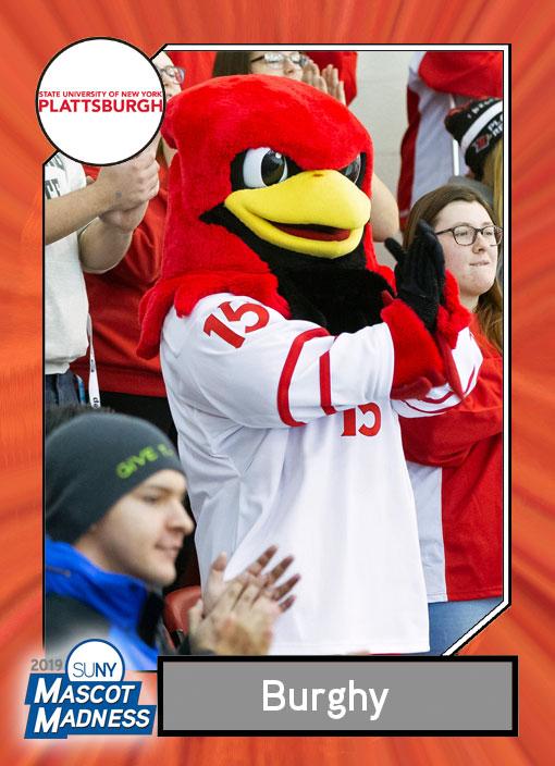 Burghy, SUNY Plattsburgh mascot sportscard