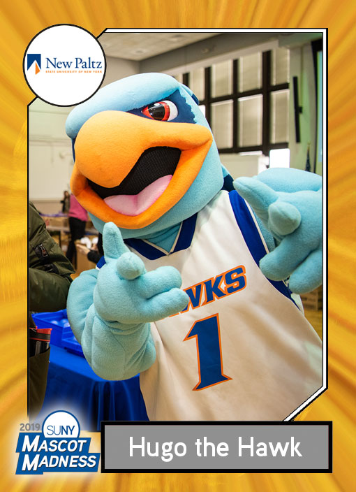 Hugo Hawk, SUNY New Paltz mascot sportscard