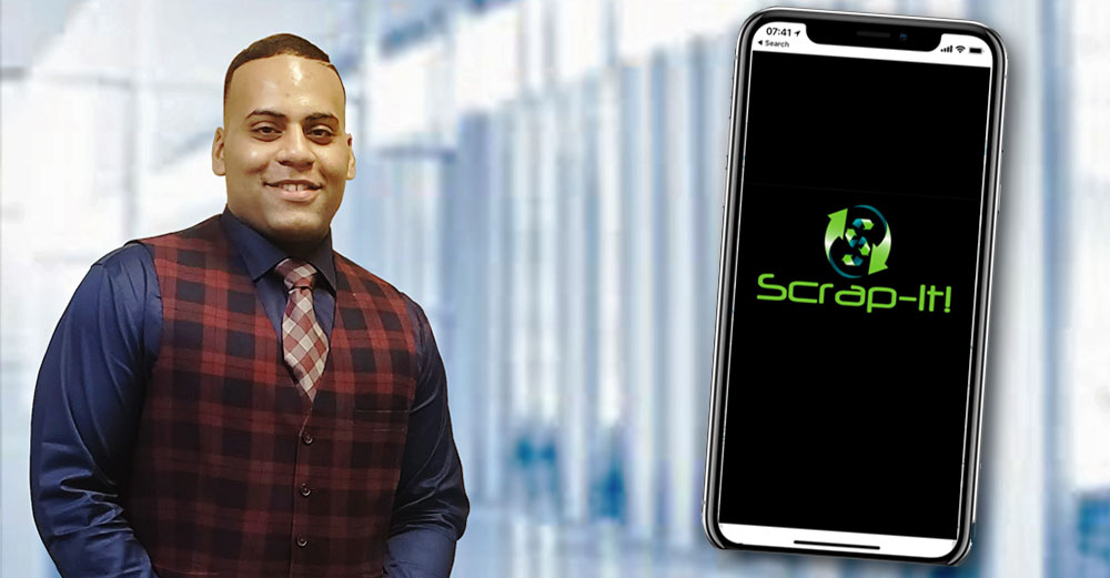 Scrap-it co-founder Orville Davis and a phone with the Scrap-it logo on it.