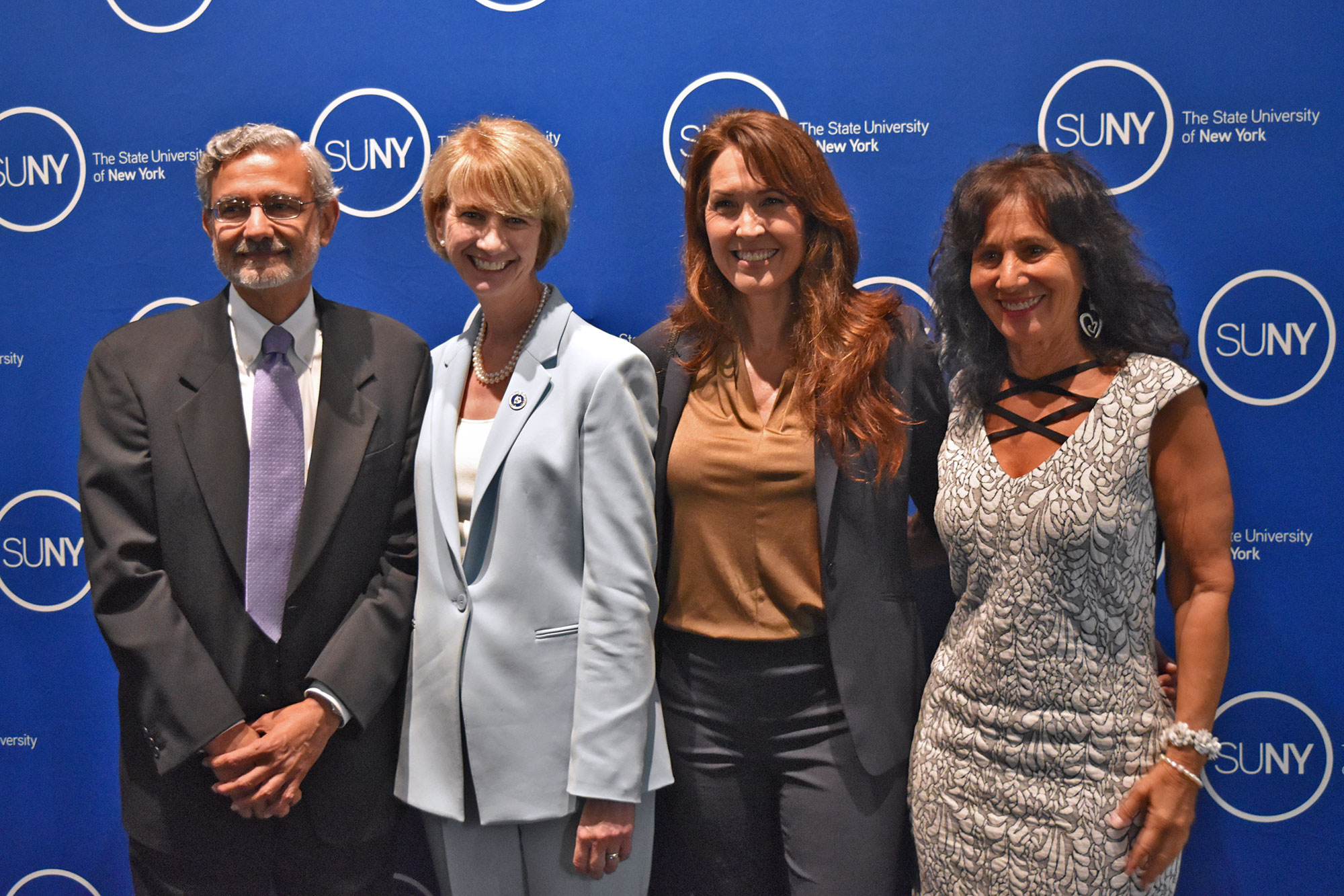 L-R: Dr. Mantosh Dewan of Upstate Medical University, SUNY Chancellor Kristina Johnson, Susan Schneider Williams, and founder of the Lewy Body Resource Center Norma Loeb