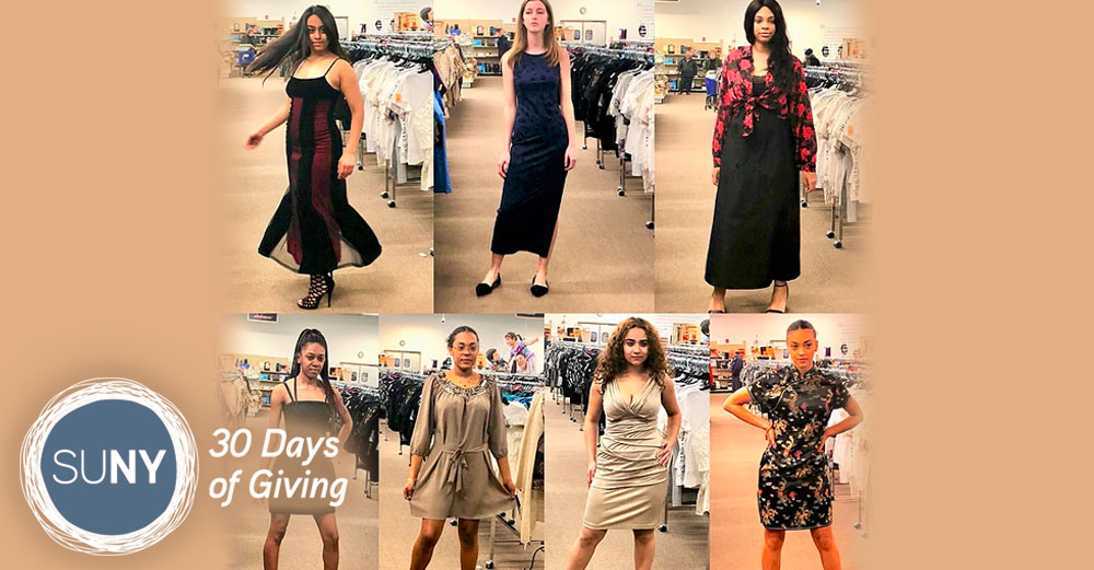 Buffalo State students model dresses designed as part of a class project.