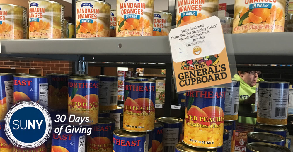 Food pantry shelf at The General's Cupboard at Herkimer County Community College.