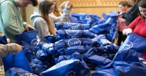 SUNY's Got Your Back sexual/domestic violence prevention comfort bags stacked on table