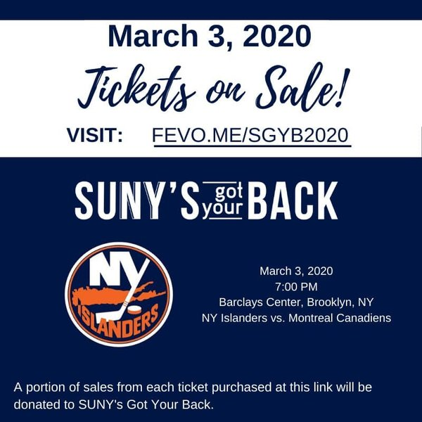SUNY's Got Your Back flyer for the Islanders vs Montreal Canadians game at the Barclays Center