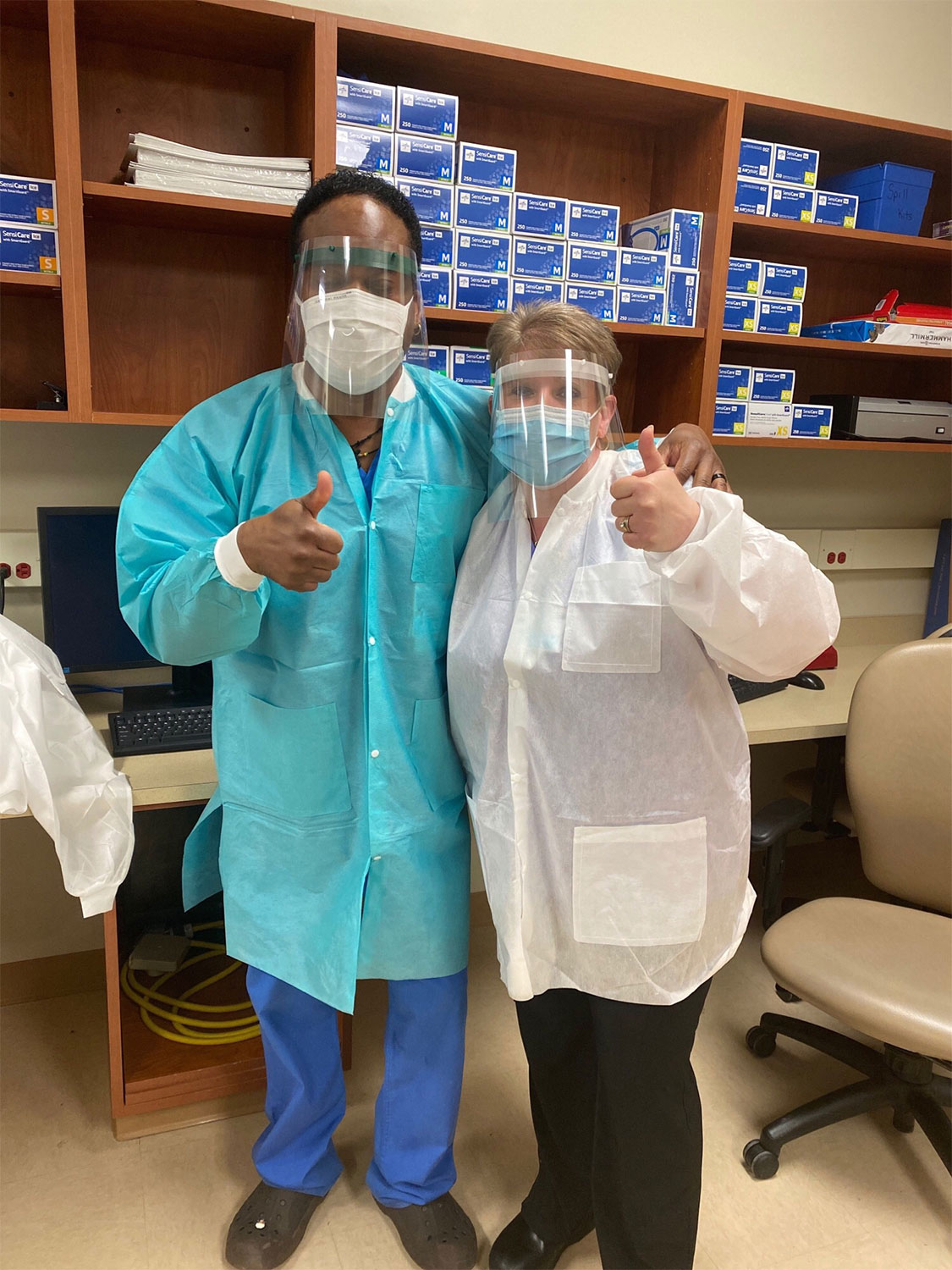 Phlebotomists at the Orange Regional Medical Center show their appreciation for the new face shields they received that were made at the SUNY New Paltz 3D printing lab.