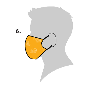 Side view clip art of person wearing cloth clip art looped around ears.