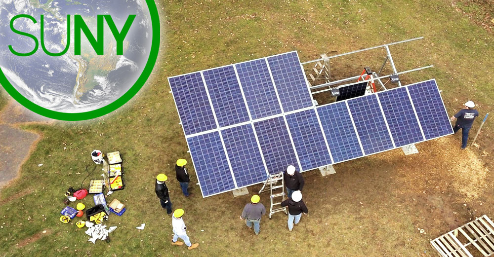 A solar array being assembled at SUNY Morrisville.