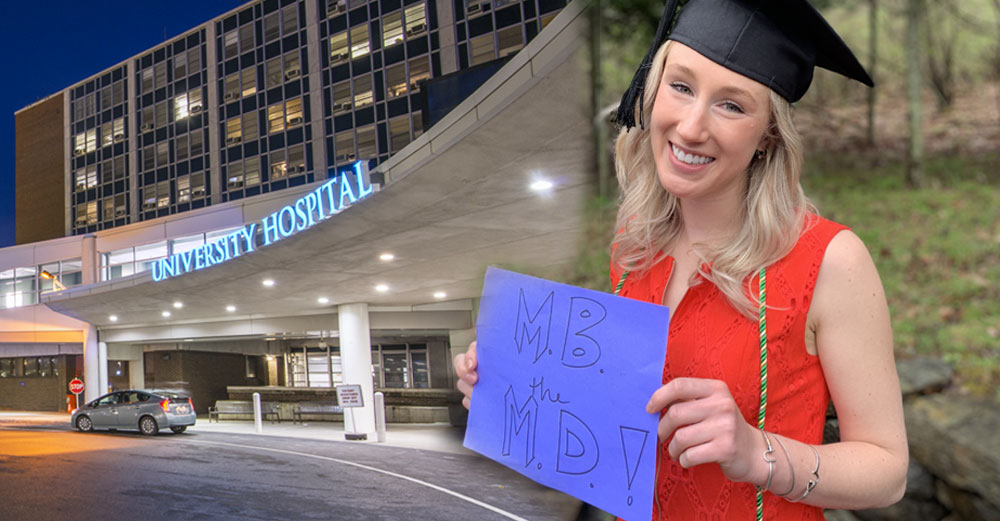 Mary Beth Gadarowski in graduation cap next to a photo of upstate medical university.