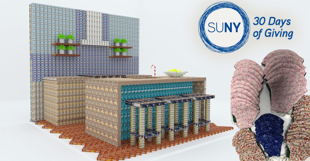 A canstruction project of a lunch counter and a pile of face masks.