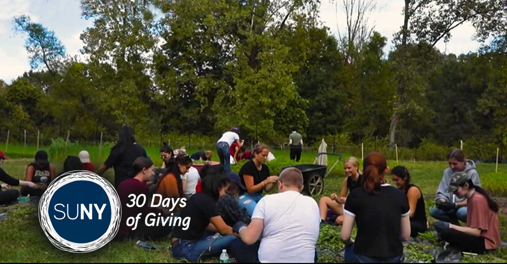 Large group of students sit on grass in front of forrest of trees.