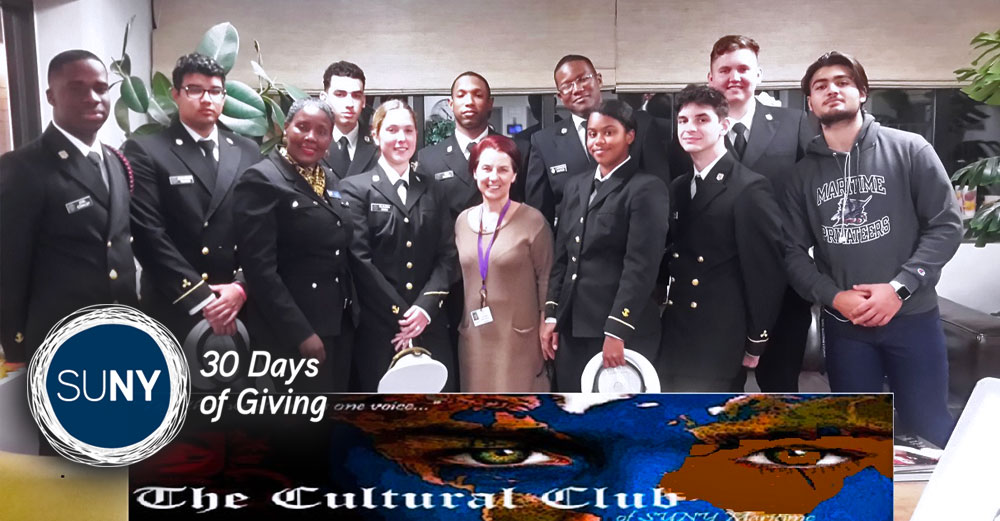 SUNY Maritime College cultural club students pose fr a picture in their uniforms.