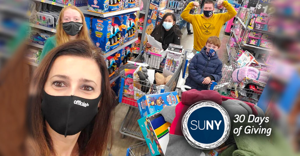 Group of people shop for toys with facemasks on.