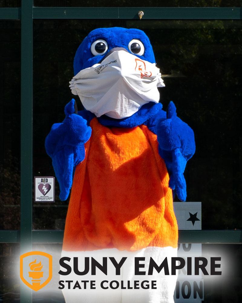 Empire State College mascot Blue the bird