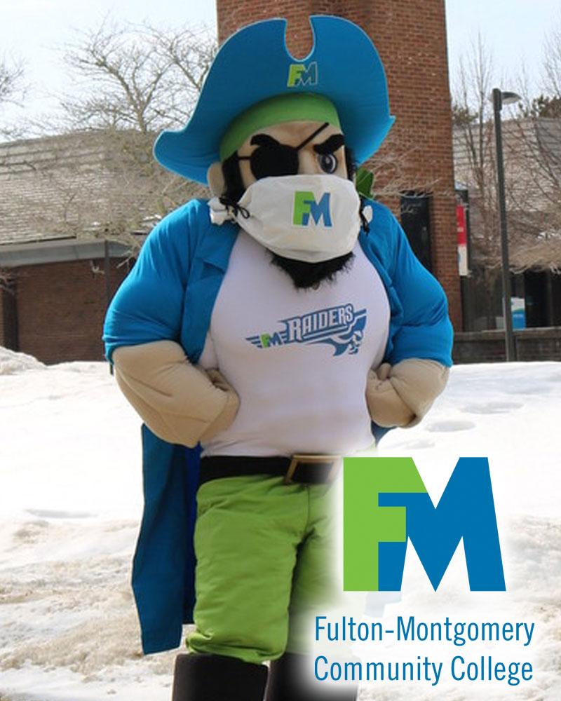 Fulton Montgomery Community College mascot Reggie Raider