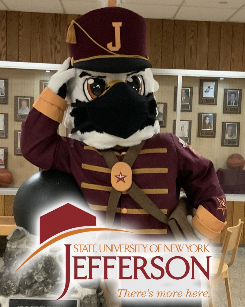 Jefferson Community College mascot Boomer T Cannoneer