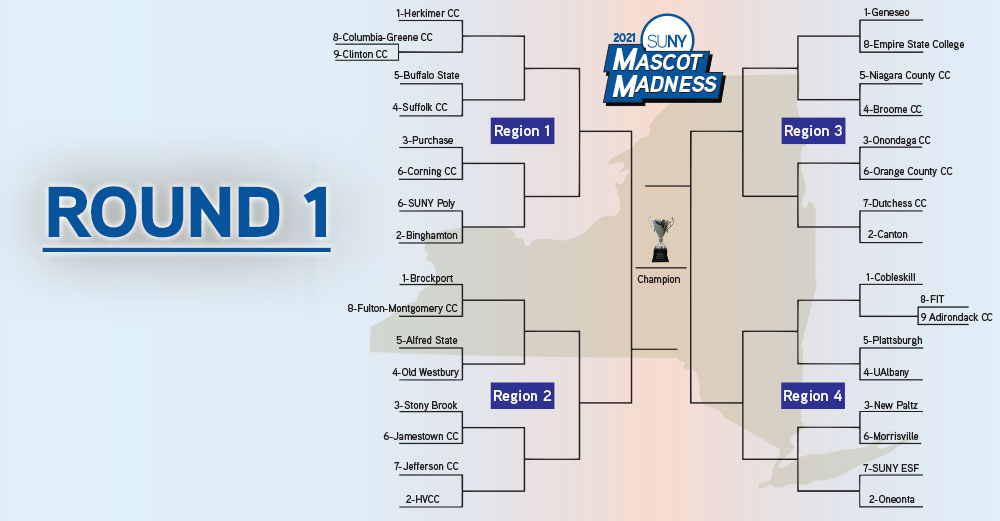 Mascot Madness 2021 bracket with ROUND 1 header