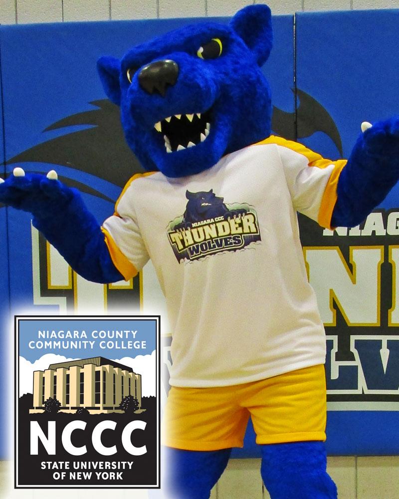 Niagara County Community College mascot tripp the Thunderwolf