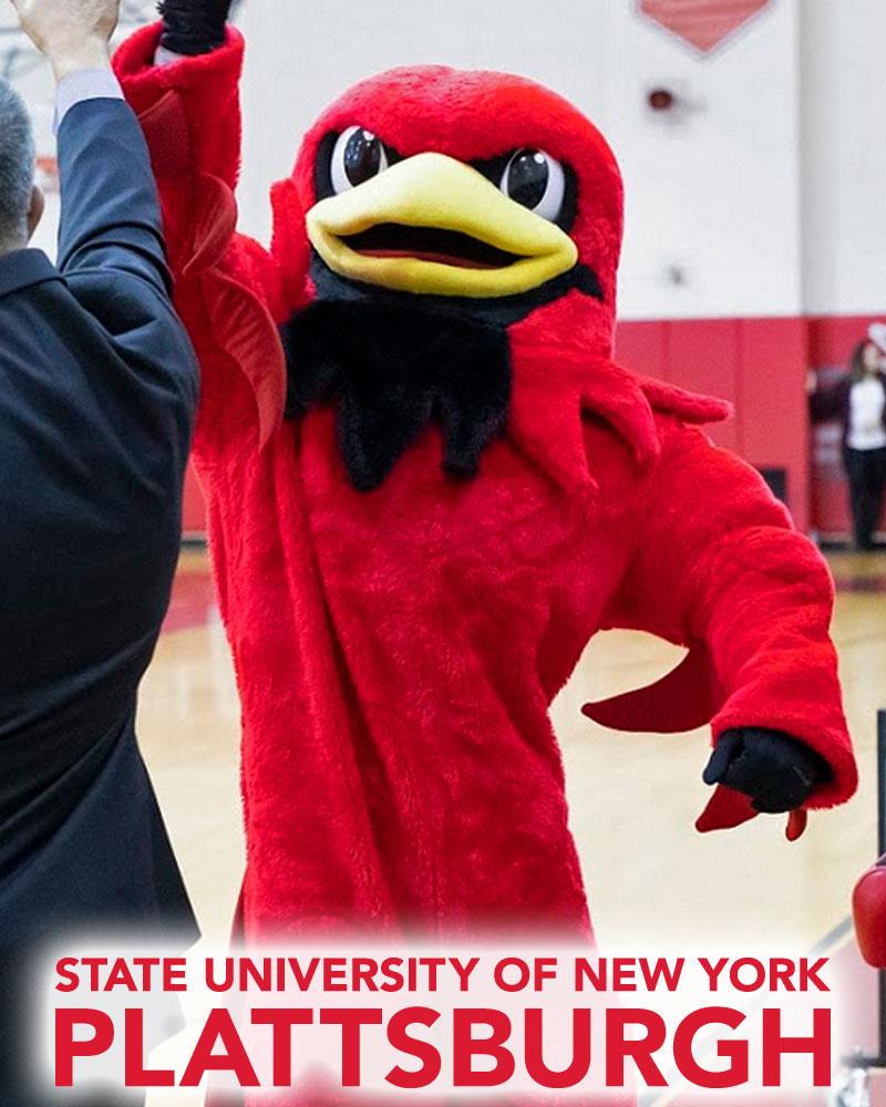 SUNY Plattsburgh mascot Burghy Cardinal.