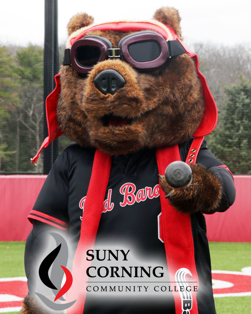Corning Community College mascot Red Baron